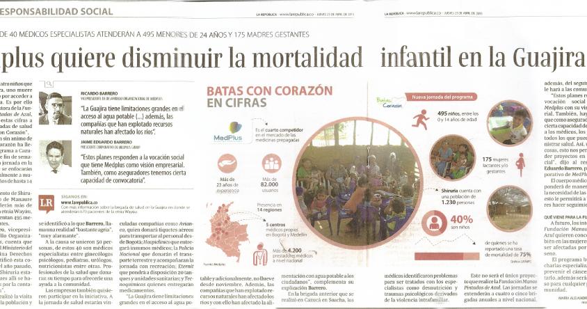 Imagen prensa Medplus quiere disminuirla mortalidad infantilen la Guajira